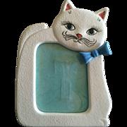 Vintage white cat porcelain picture frame Japan