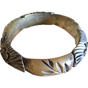 Vintage carved resin bangle bracelet