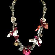 Vintage Guatemalan Easter bunny rabbit necklace