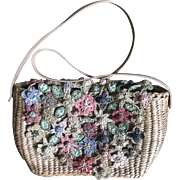 Vintage Cappelli Straworld purse handbag with colorful crochet straw flowers