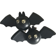 Vintage Halloween black bat clip on earrings