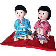 Vintage Japanese boy and girl dolls