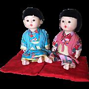 Vintage Japanese boy and girl dolls