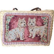 Vintage Cappelli straw bag west highland terriers