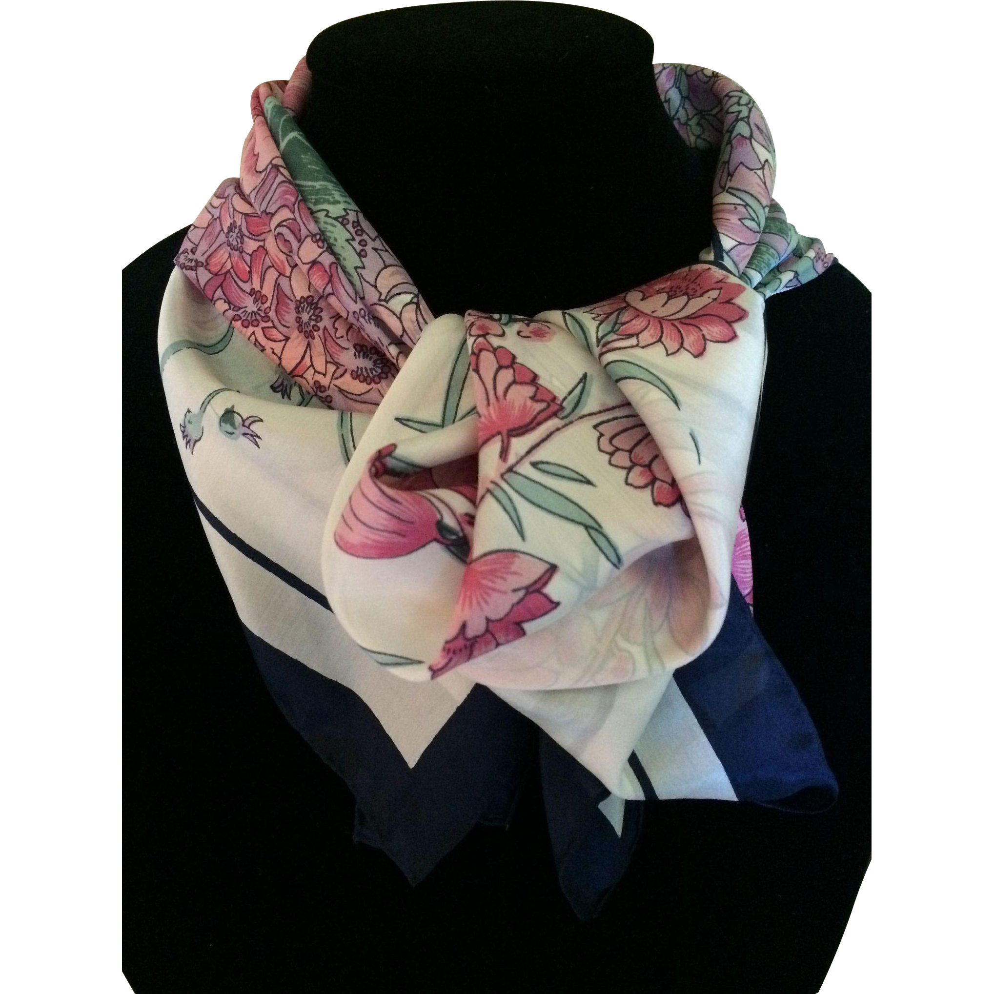 Vintage rosy pink flower silk scarf