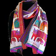 Vintage Laurel Burch cat  silk scarf