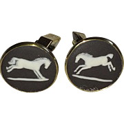 Vintage Wedgwood sterling silver vermeil horse cufflinks in black and white