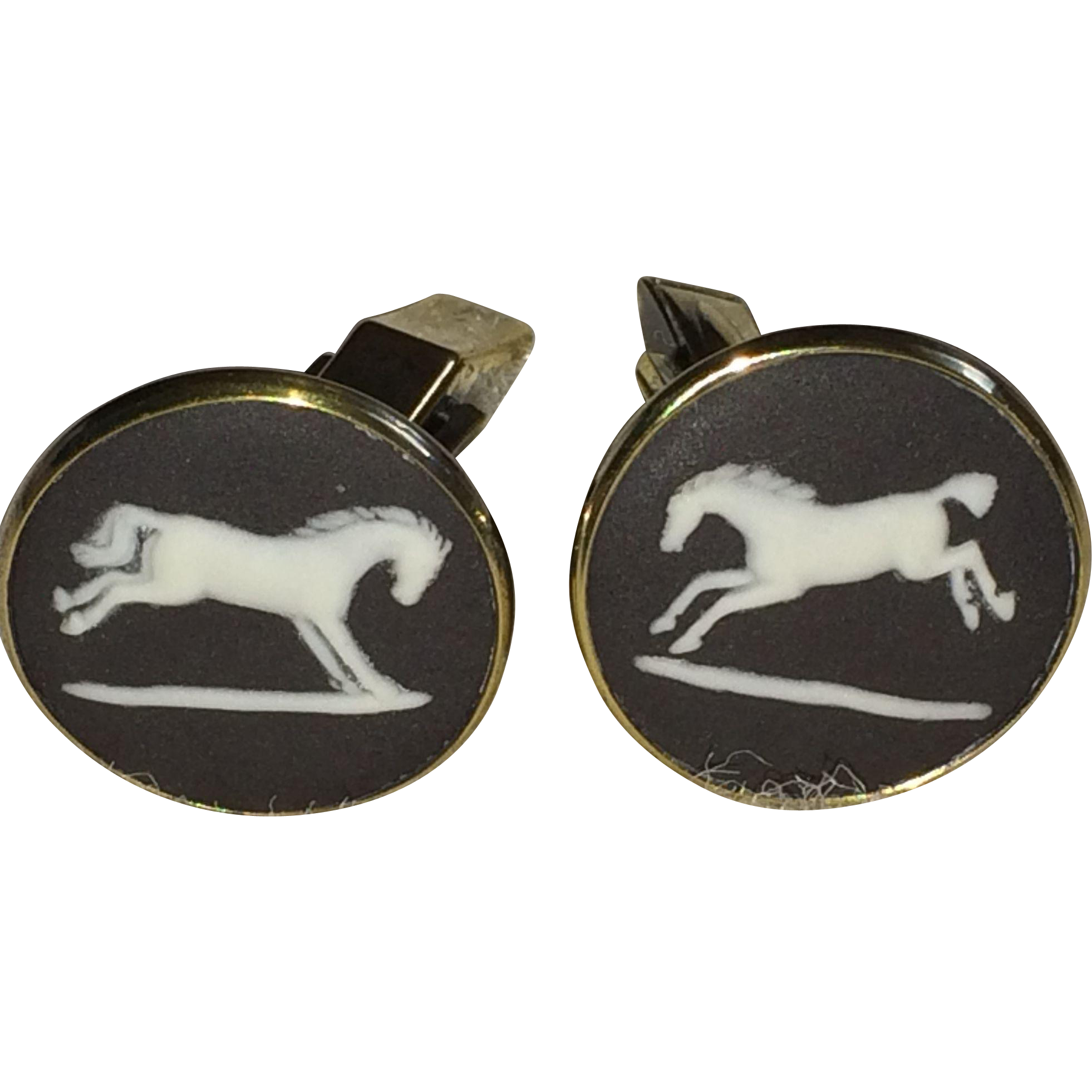 Vintage sterling silver vermil black Wedgwood cuff links
