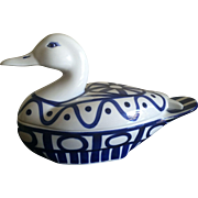 Vintage Dansk Arabesque blue and white duck covered casserole