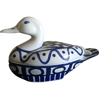 Vintage Dansk Arabesque blue and white duck covered casserole