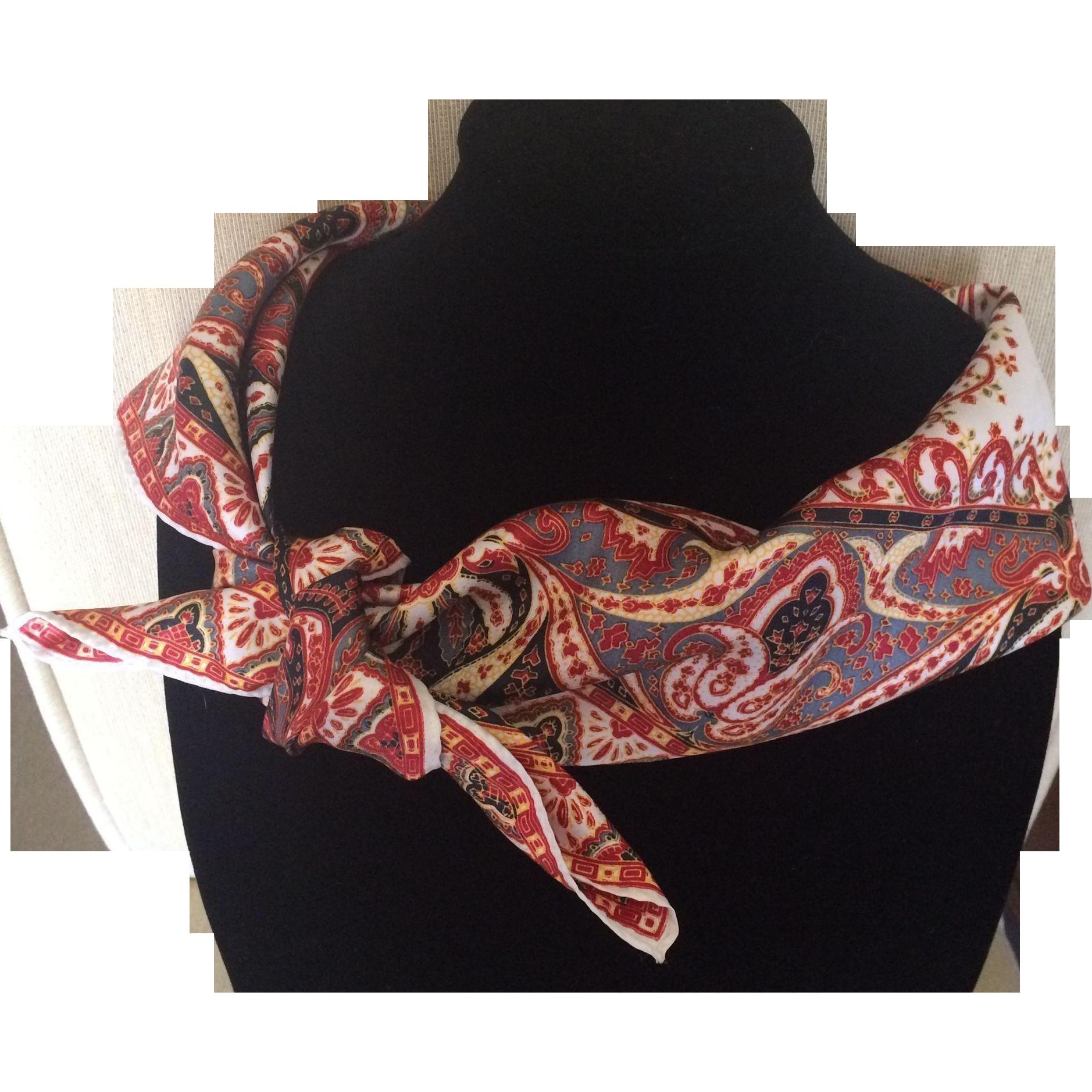 Vintage silk satin paisley mandala design scarf