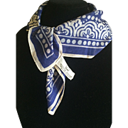 Vintage blue and white cotton Vera scarf