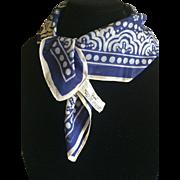 Vintage blue and white cotton Vera scarf