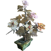 Vintage Chinese jade tree with rose quartz and carnelian blossoms