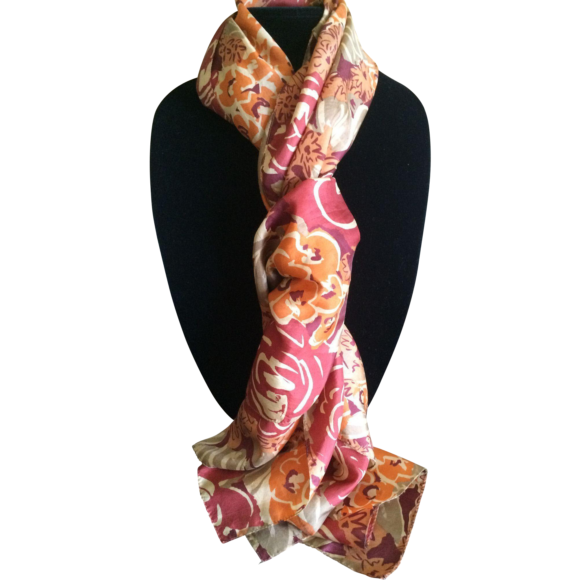 Long silk floral print rectangular scarf in coppery tones