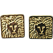 Vintage Anne Klein lion logo pierced earrings