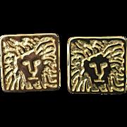 Vintage Anne Klein lion logo pierced earrings