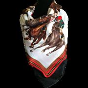 Vintage Italian design horse racing scarf