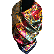 Vintage abstract floral silk scarf