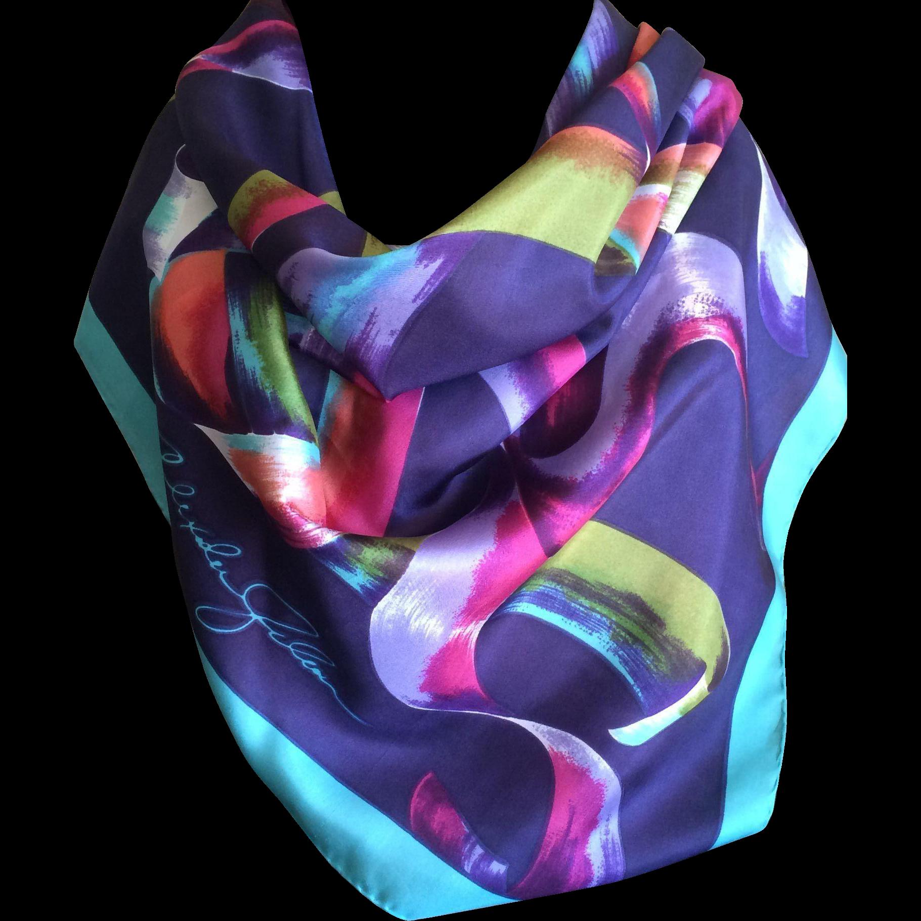 Vintage signed Alexander Julian silk scarf