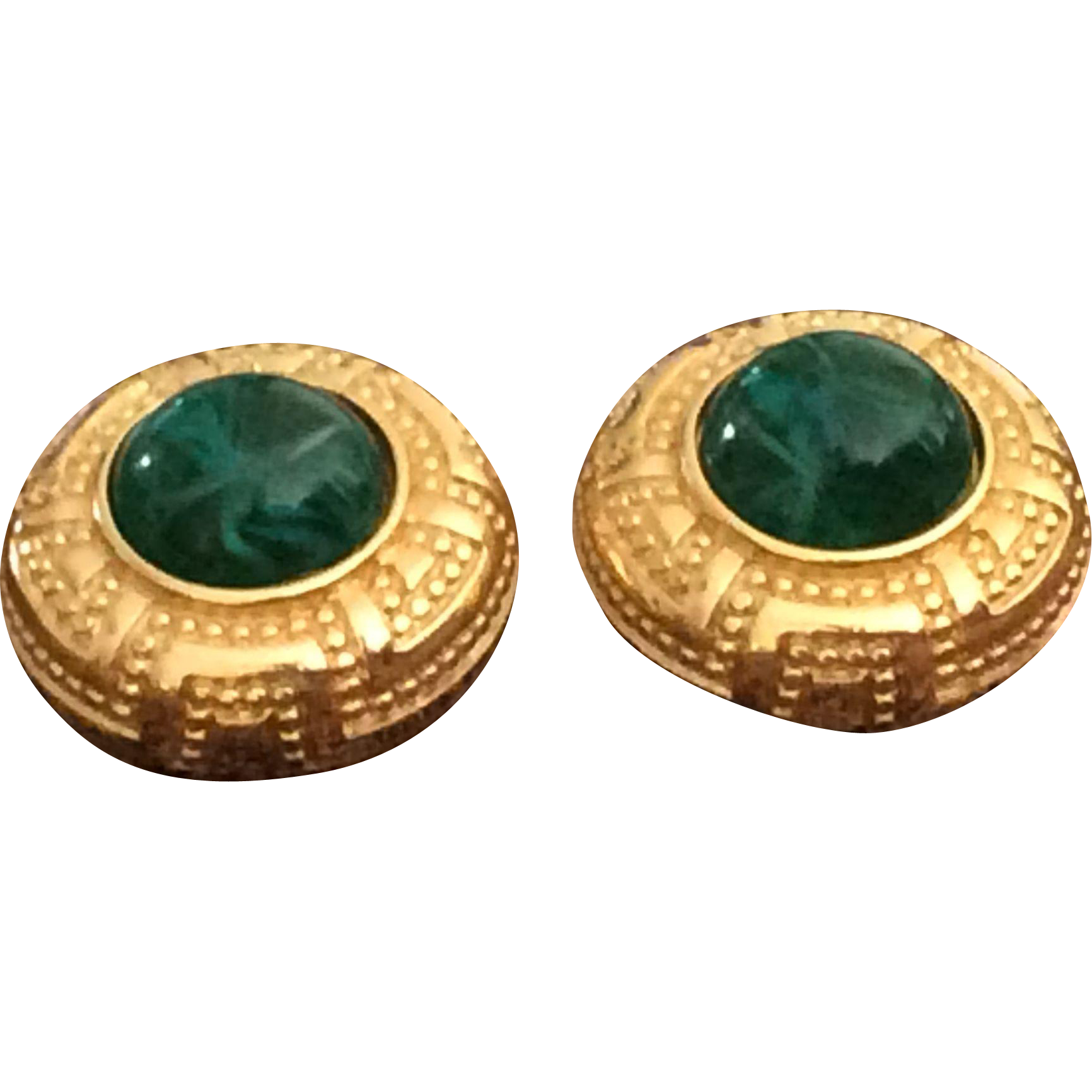 Vintage Christian Dior gold plate button and glass swirl earrings