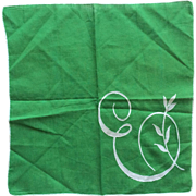 Kelly green and white cotton initial 'E' hankie
