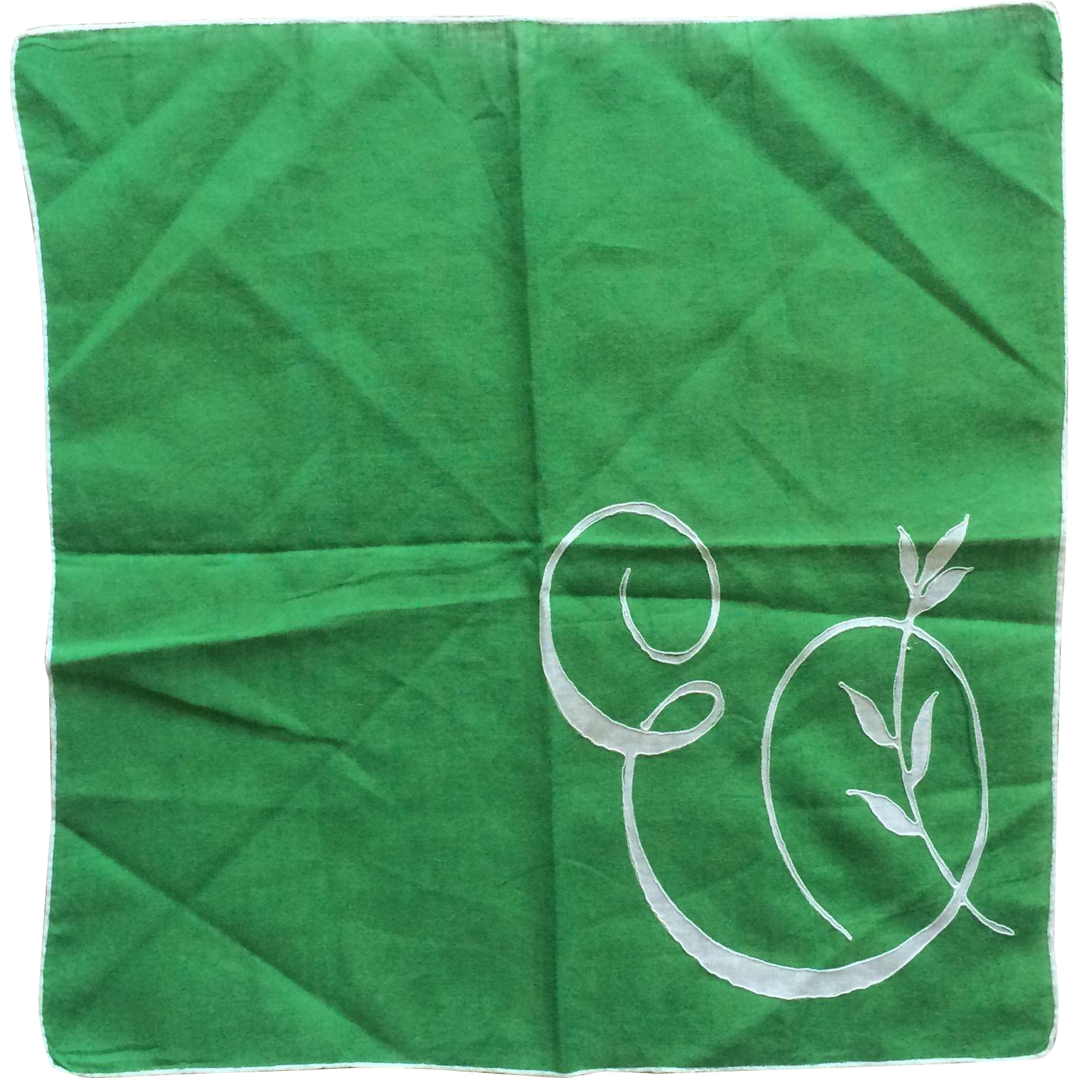 ST Patricks Day kelly green and white cotton initial 'E' hankie