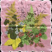 Vintage French cotton floral print handkerchief