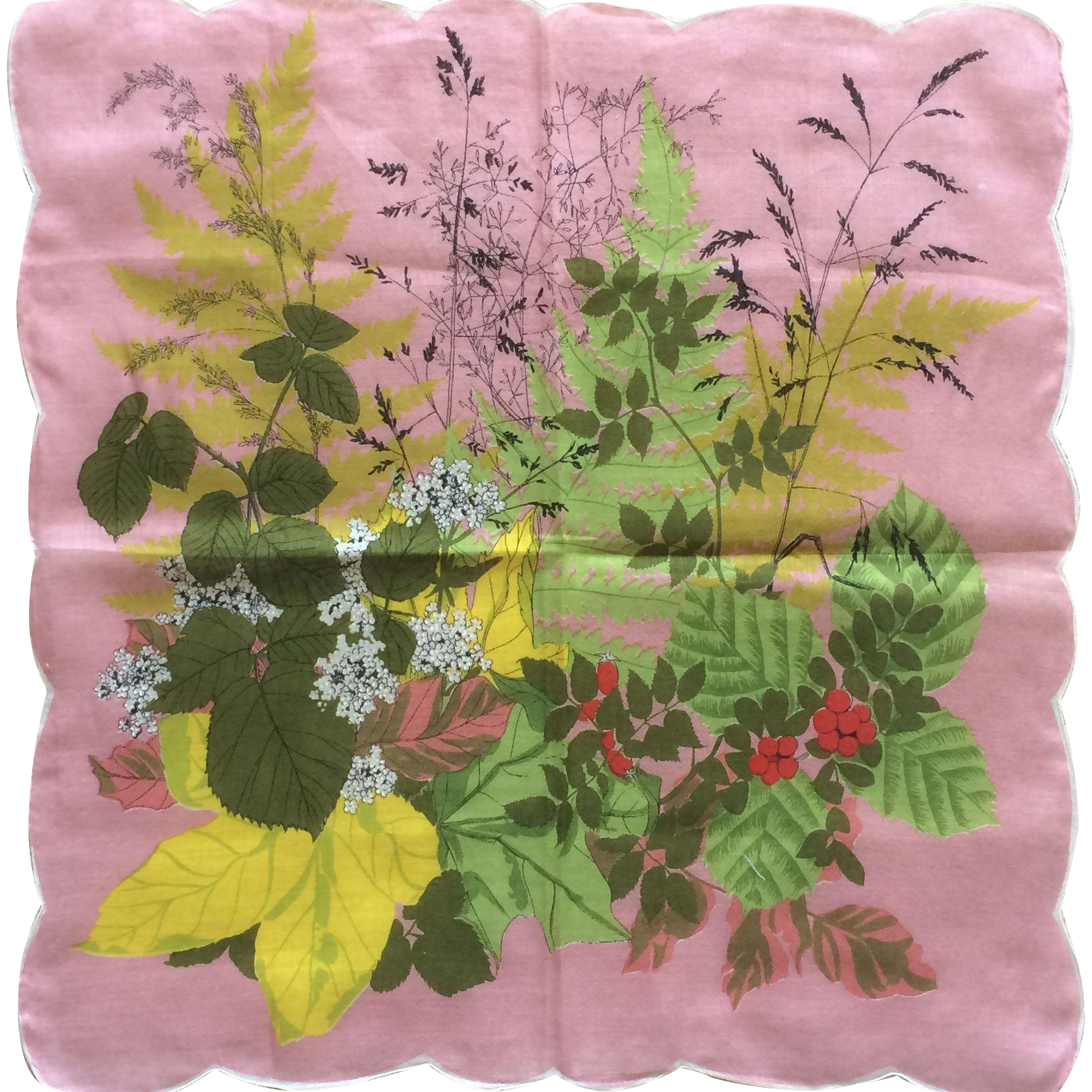 Vintage French cotton floral print handkerchief