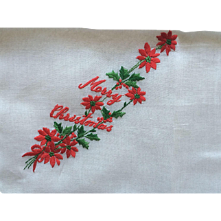 Vintage cotton embroidered Christmas hankie