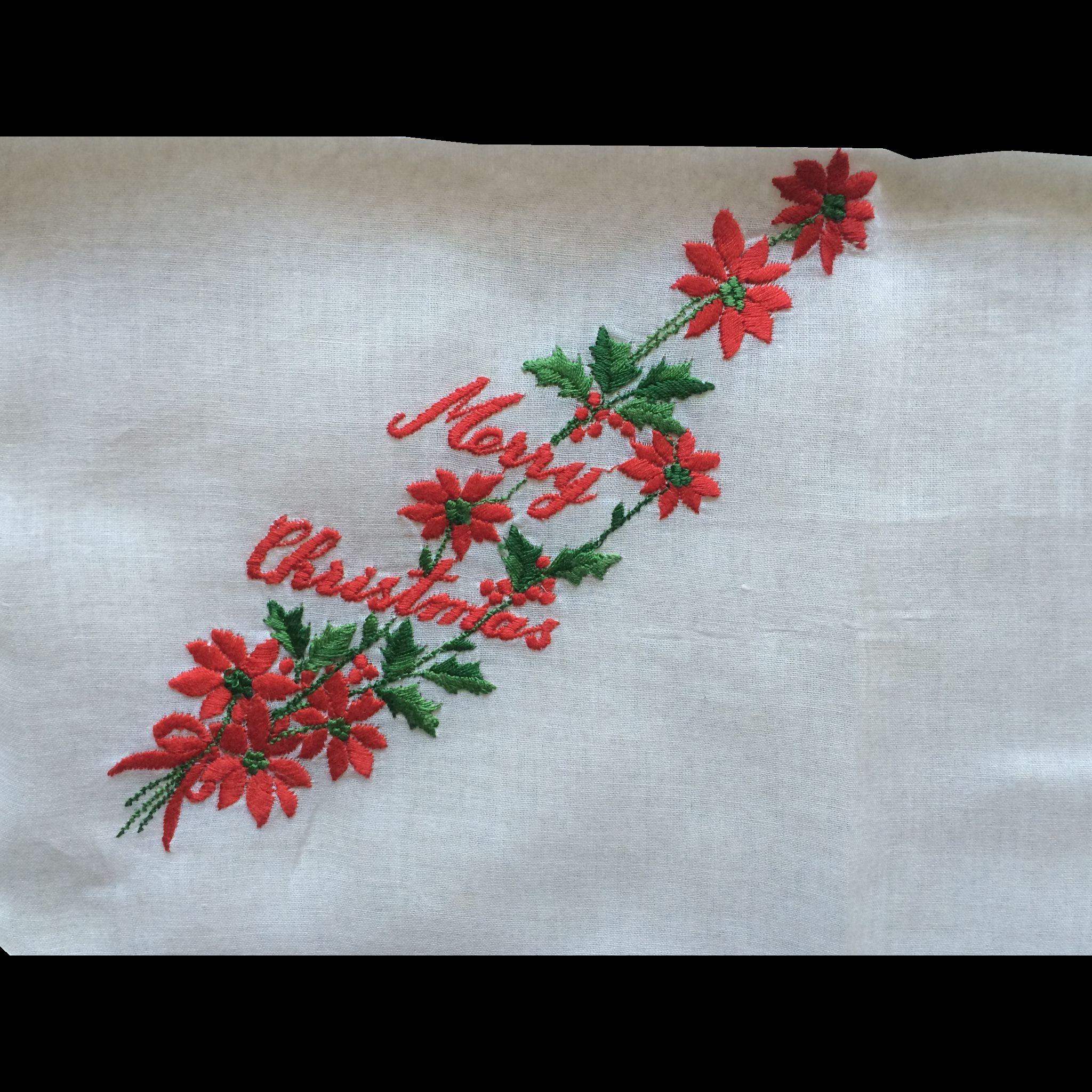 Vintage cotton embroidered Christmas hankie