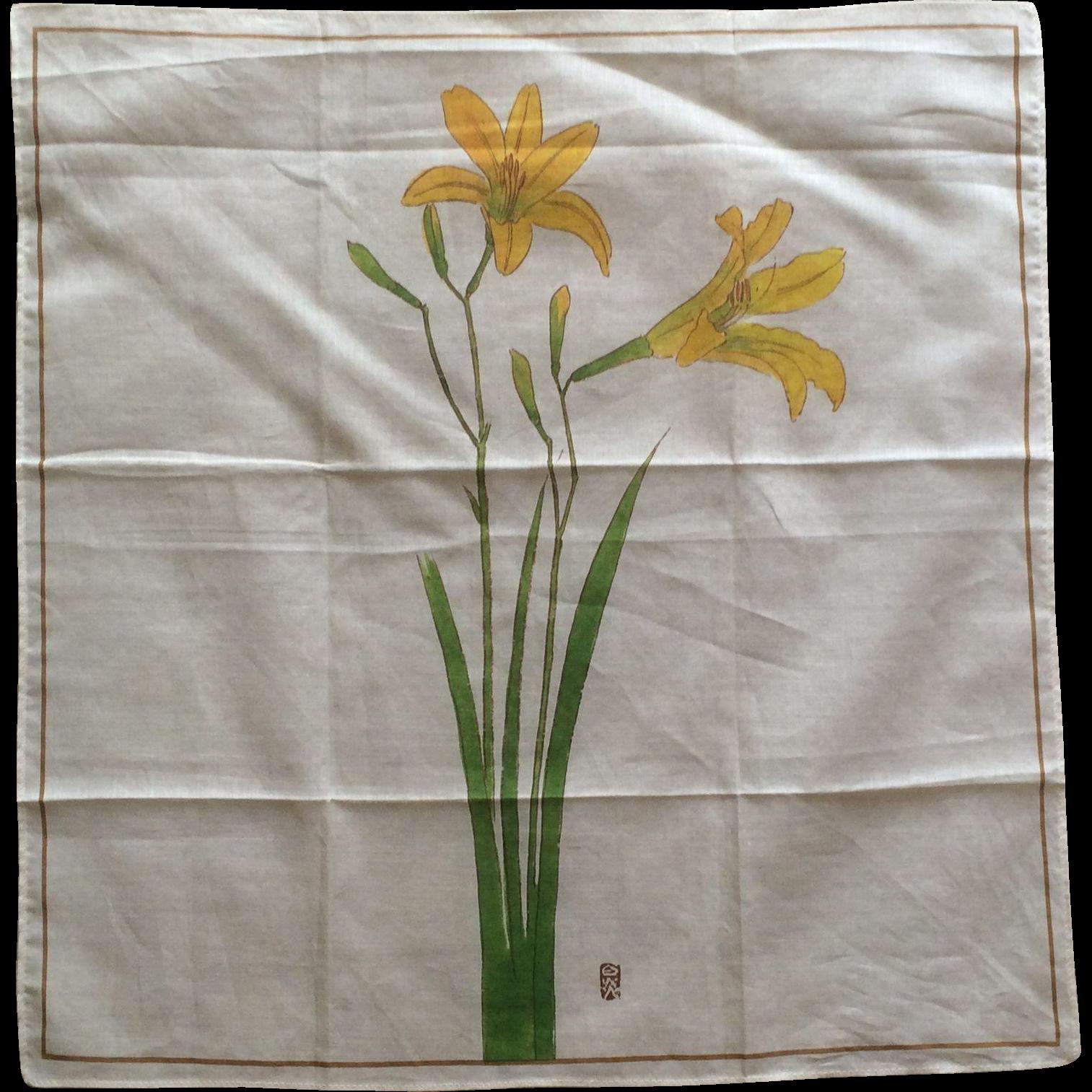 Vintage Japanese cotton handkerchief lilly design