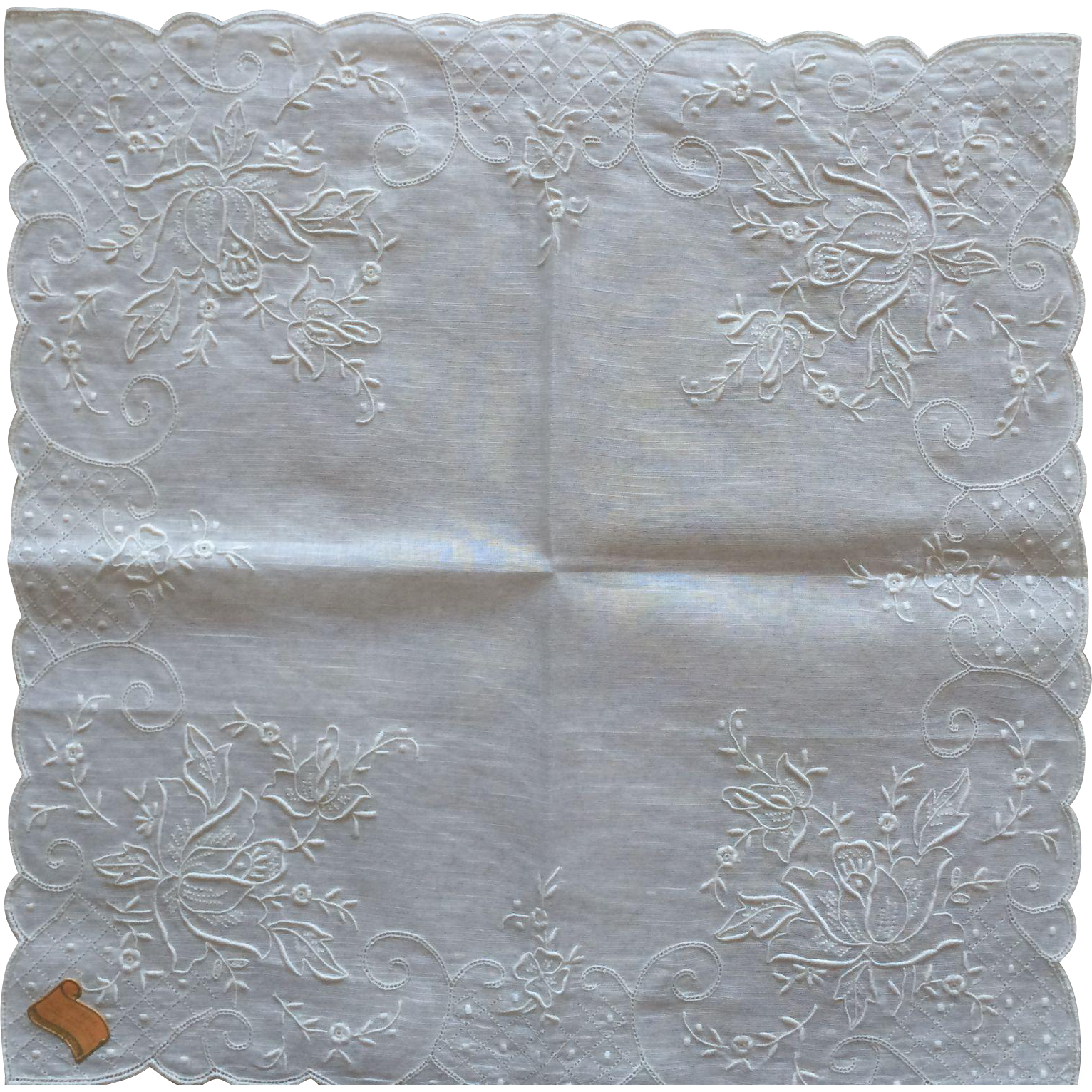 Vintage handmade cotton highly embroidered white in white handkerchief