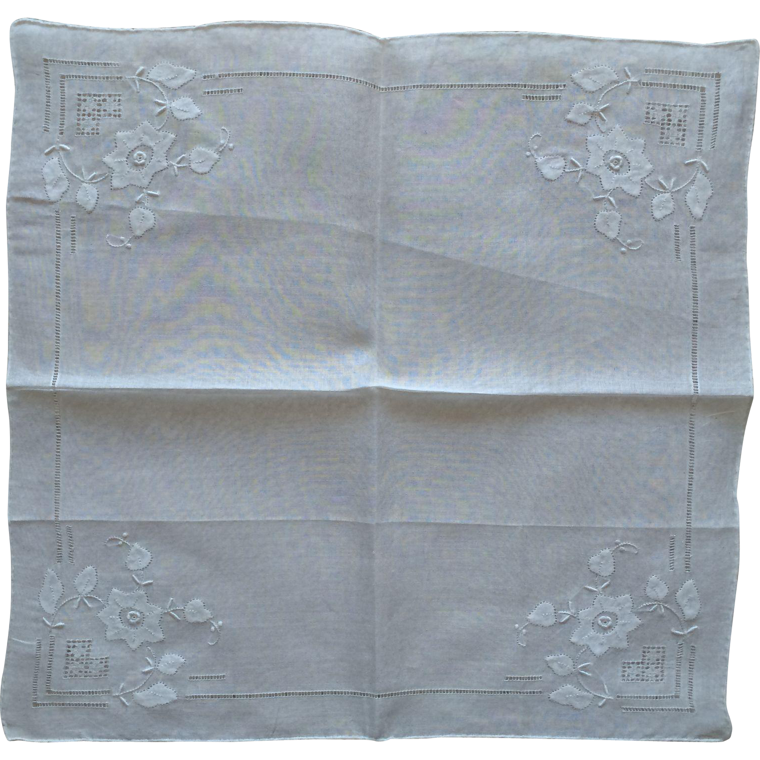 Vintage white on white cotton applique cut work and embroidered handkerchief