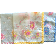 Set of 3 vintage flower motif hankies