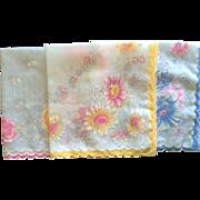 Set of 3 vintage flower motif hankies