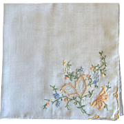 Vintage cotton colorful applique, cut work and embroidery Handkerchief