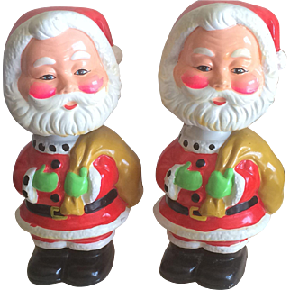Vintage rosy cheek bobble head Santa banks two