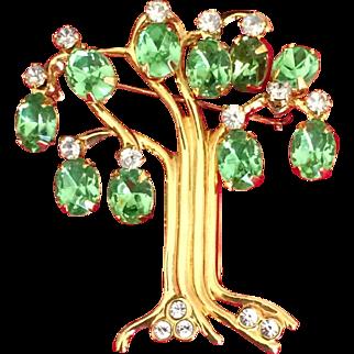 Vintage KJL Kenneth J Lane Tree of Life rhinestone pin 1990