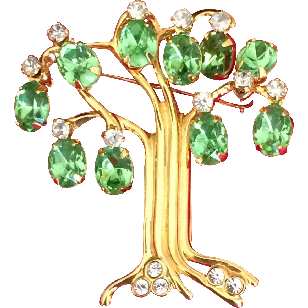 Vintage KJL Kenneth J Lane Tree of Life rhinestone pin 1990