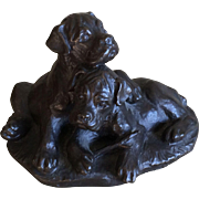 Bronze Boxer puppies at play sculpture