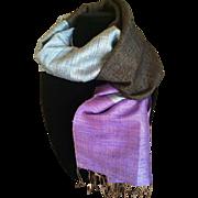 Vintage Thai silk tri color scarf or wrap