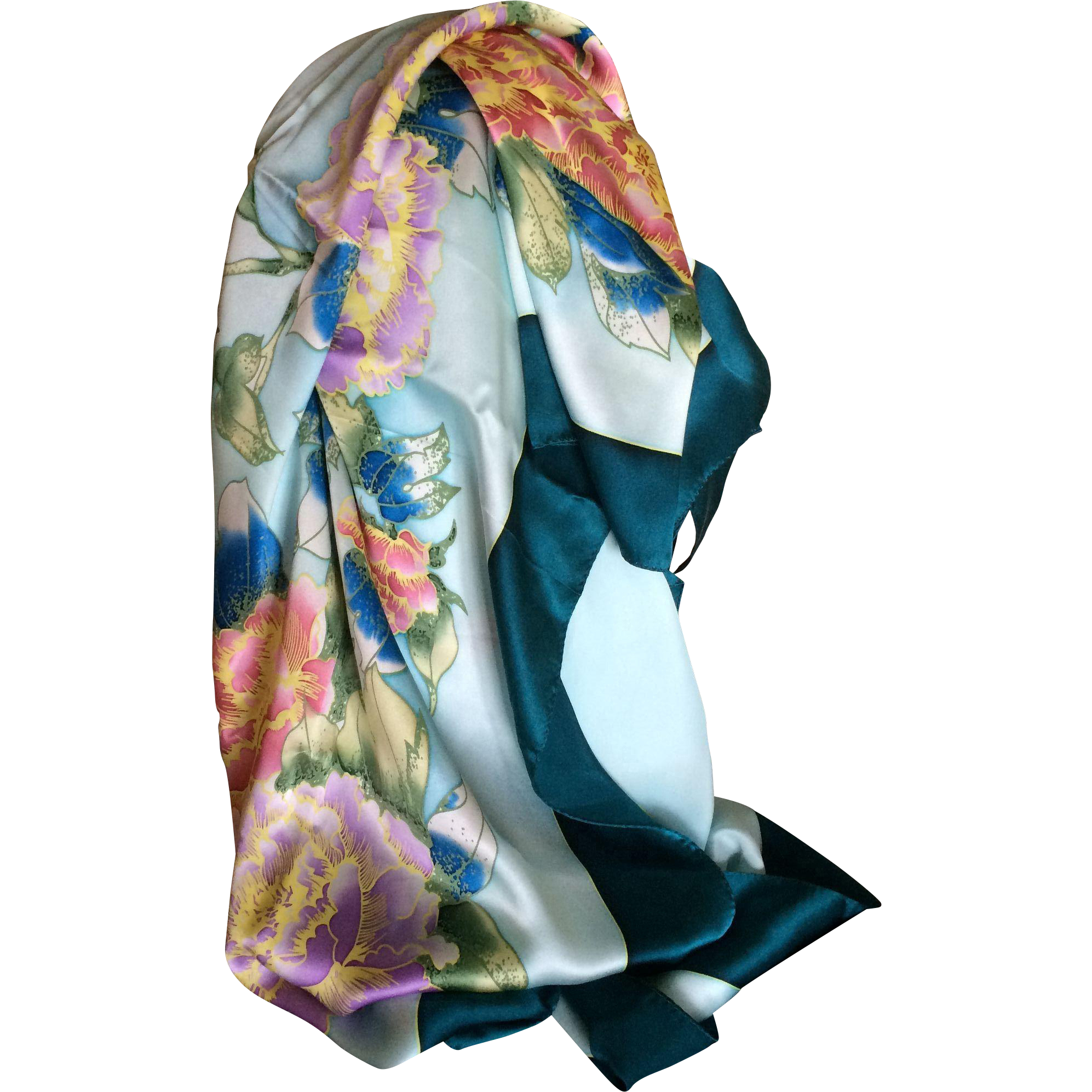 Vintage Japanese silk peony and butterfly scarf or wrap