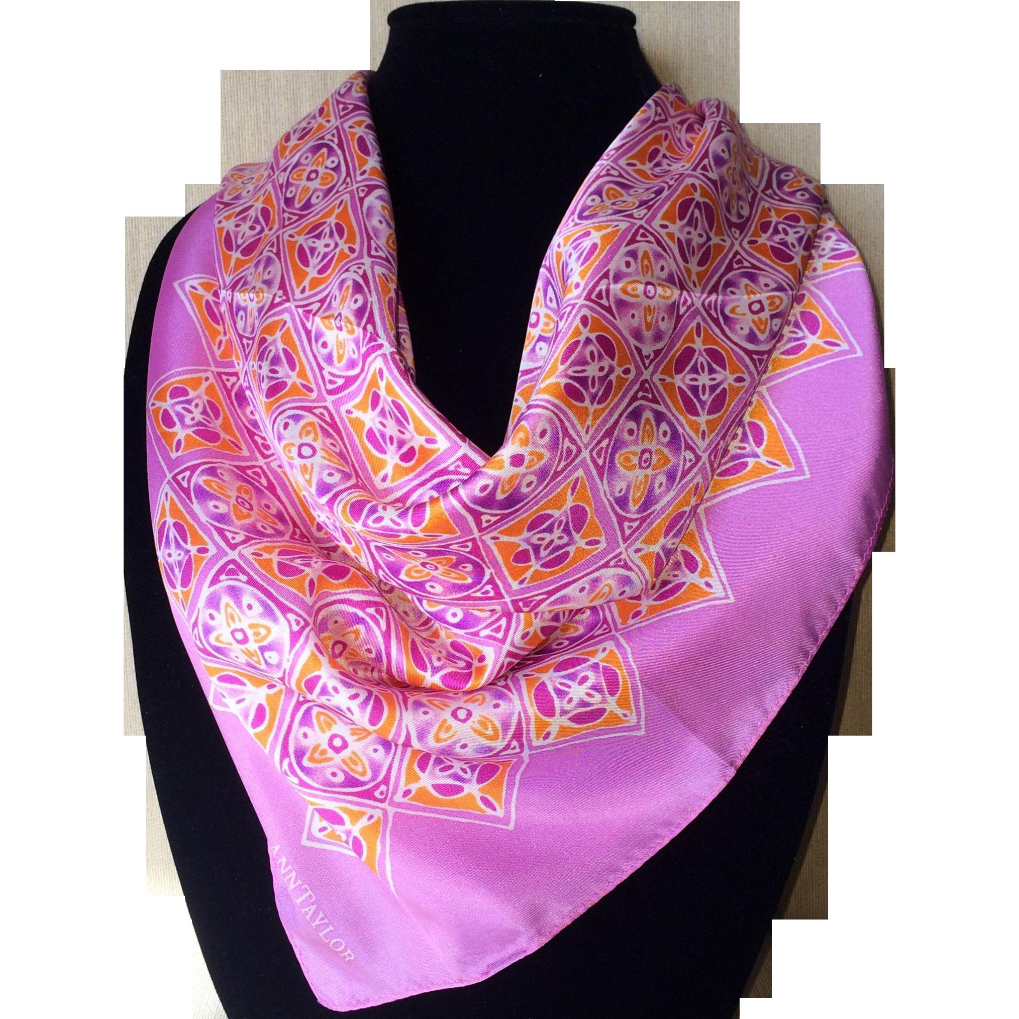 Vintage Ann Taylor oh so pink silk scarf