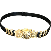 Vintage Gold Plated Lion Head Black Leather Belt by Judith Leiber