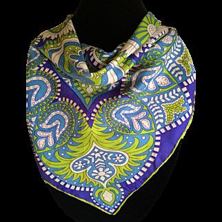 Vintage Mod era psychedelic silk scarf by Vera