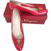 Salvatore Ferragamo Vintage  Red Leather flats in a size 9 1/2 AAAA