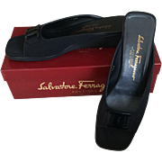 Salvatore Ferragamo Vintage Ladies Open Toe Black Fabric Sandal Size 9 1/2 AAA