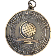 Vintage Poet of Merit Award pendant