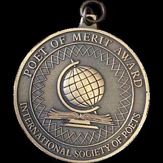 Vintage Poet of Merit Award pendant